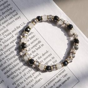 赫赫小建築-黒色大理石紋手環