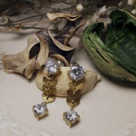 記憶約定-金色麥穗鋯石耳環