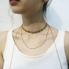 古典鏤空-蕾絲花邊珍珠三層長頸鍊